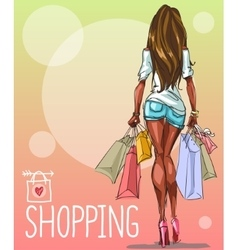 Young woman with shopping bags background with vector image vector image
