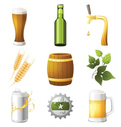 9 highly detailed beer icons vector image vector image