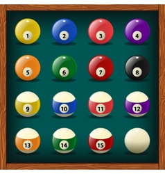 Complete set of balls for pool vector image vector image