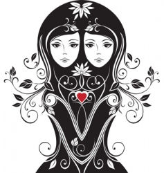 floral girls vector image vector image