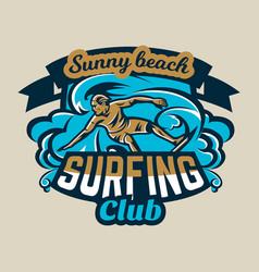 colorful logo emblem sticker surfer drifting on vector image vector image