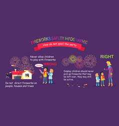 fireworks safety infographic wrong and right vector image vector image