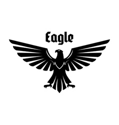 Heraldic eagle sign of black bird with open wings vector image vector image
