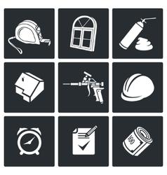 Installation windows Icons set vector image vector image
