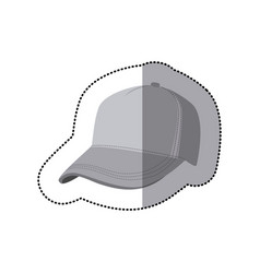 sticker grayscale silhouette with baseball cap vector image