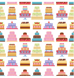 cake pie tart happy birthday cartoon seamless vector image