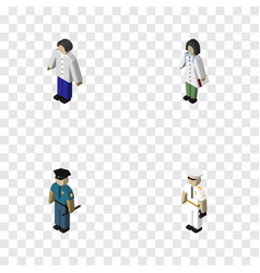 Isometric human set of officer male seaman and vector