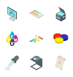 Printer icons set cartoon style vector image vector image