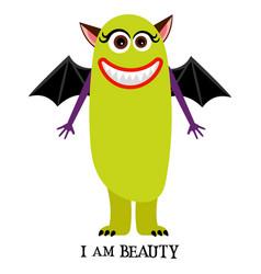 winged girl monster print design vector image vector image