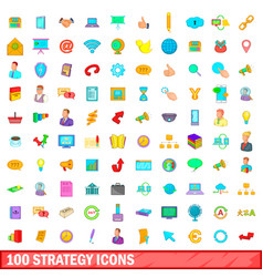 100 strategy icons set cartoon style vector