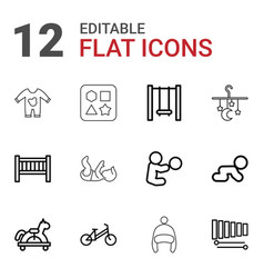 12 child icons vector image