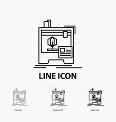 3d dimensional machine printer printing icon in vector