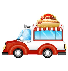 A vehicle selling hotdogs vector
