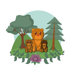Bears family cute animals cartoons vector