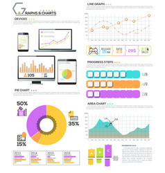 big bundle of diagram chart graph and workflow vector image