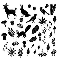 Big set black and white silhouettes forest vector