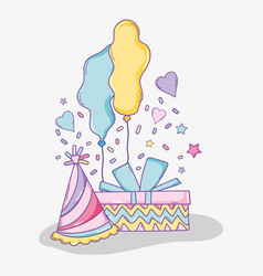 Birthday present with party hat and balloons vector
