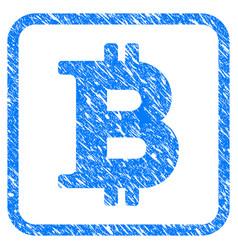 bitcoin symbol framed stamp vector image