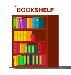 Bookshelf home library or book store vector