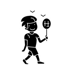 boy walking with candy icon vector image