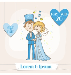 Bride and Groom - Save the Date Wedding Card vector image