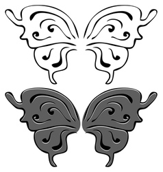 Butterfly wings Set of Black and painted wings vector image