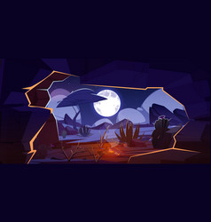 Cave with bonfire and night desert landscape vector