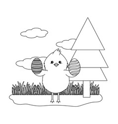 Chick with eggshell vector