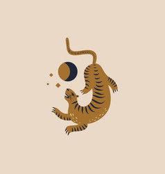 chinese style tiger in moon vector image