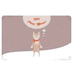 Christmas card of winter cat or a fox with scarf vector