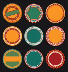 Collection of mexican round decorative border vector
