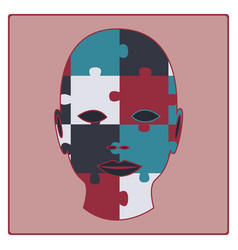 concept puzzled face vector image