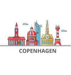 Copenhagen city skyline buildings streets vector