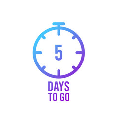 Count timer icon emblem 5 days left in flat vector