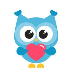 Cute blue owl with heart vector