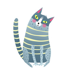 Cute cartoon cat sitting vector