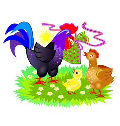 Cute chicken family easter greeting card cover vector