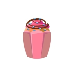 Cute cupcake with decoration vector