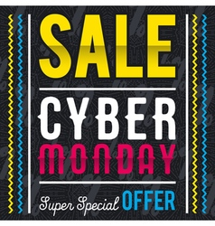 Cyber Monday sale banner on black patterned backgr vector image