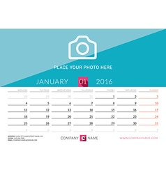 Desk Calendar 2016 Print Template January Week vector