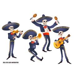 Dia de muertos mariachi band musician skeletons vector