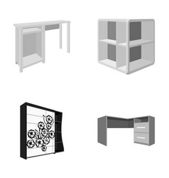 Dressing table corner shelves computer desk vector