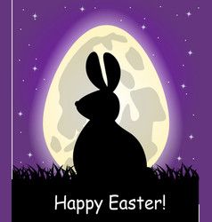 Egg-shaped moon and silhouette easter b vector