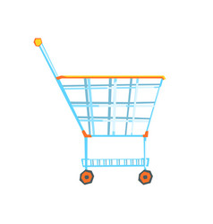 Empty supermarket shopping cart with color wheels vector
