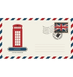Envelope with London phone booth vector