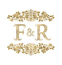 F and r vintage initials logo symbol vector