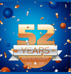 Fifty two years anniversary celebration design vector