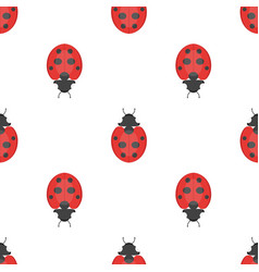 flat style seamless pattern with ladybug vector image