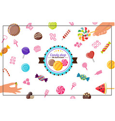 flat sweet products concept vector image