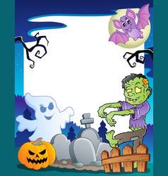 Frame with halloween topic 7 vector